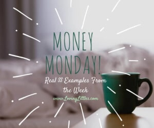 Money highs and lows include thrift shopping, library fees, and a week without grocery shopping. How did you manage your $ this week? Share at Money Monday!